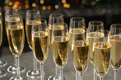 Glasses of champagne on table royalty free stock photo