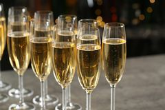 Glasses of champagne on table royalty free stock image