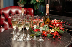 Glasses with champagne on table Stock Image