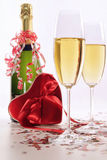 Glasses of champagne for Valentines day with heart Royalty Free Stock Photos