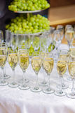 Glasses of champagne waiting for guests Stock Image