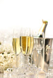Glasses of champagne for a wedding stock photography