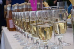 Glasses of champagne wedding banquet Stock Photo