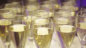 Glasses of champagne at a wedding cocktail party. Glasses of champagne at a  cocktail party stock footage