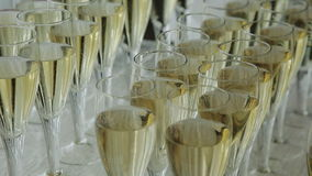 Glasses of champagne at a wedding cocktail party stock video footage