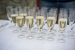 Glasses of champagne at the wedding royalty free stock photo