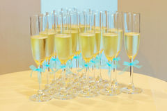 Glasses of champagne with wedding ribbons Stock Photography