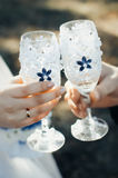 Glasses of champagne. Wedding rings and champagne glasses, wedding young large detail Stock Photography