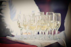 Glasses of champagne  for wedding Royalty Free Stock Images