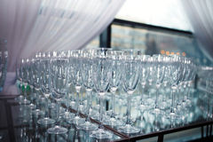 Glasses of champagne and wine. DOF. Tableware Stock Images