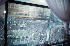 Glasses of champagne and wine. DOF. Tableware Stock Photography