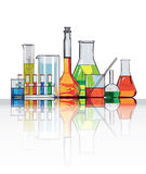 Glasses for chemical laboratory Stock Photos