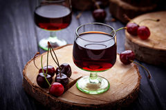 Glasses of cherry liquor. Selective focus Stock Photography