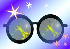 Glasses and Christmas. Christmas seen through the magical glasses. Drawings, illustrations Royalty Free Stock Image