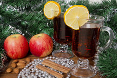 Glasses with Christmas mulled wine Royalty Free Stock Photo