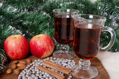 Glasses with Christmas mulled wine Stock Photo