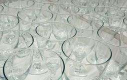 Glasses. Clear glass end mass Stock Photos