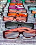 Glasses for close up view in rows many eye glasses Royalty Free Stock Photos