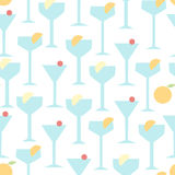Glasses with cocktails seamless vector background. Glasses are decorated with orange and lemon slices, cherry. Illustration in geometric style Royalty Free Stock Photos