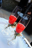 Glasses of coktail. Two glasses of coktail for wedding day Royalty Free Stock Photography