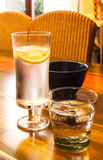 Glasses with cold drinks on table Royalty Free Stock Photo