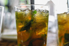 Glasses of cold with ice and Mint mojitos Royalty Free Stock Photography