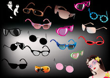 Glasses collcetion on dark background Stock Photos