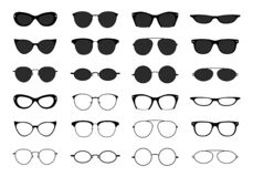 Free Glasses Collection. Geek Eyeglasses And Sunglasses. Black Spectacles Silhouette. Vector Fashion Eyewear Icon Set Royalty Free Stock Photography - 178886467