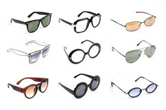 Glasses collection isolated on white. Royalty Free Stock Photo