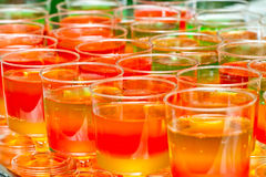 Glasses with colored jelly Royalty Free Stock Photography
