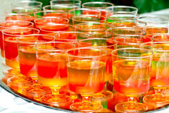 Glasses with colored jelly Royalty Free Stock Images