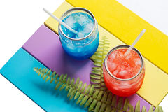 Glasses of colorful refreshing drink in summer Stock Photography