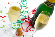Glasses and cork Royalty Free Stock Images