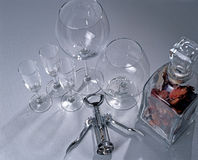 Glasses and corkscrew Stock Image
