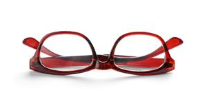 Glasses with corrective lenses. On white background. Vision problem royalty free stock photo