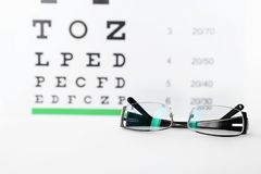 Glasses with corrective lenses on table against eye. Chart stock image