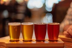 Glasses of craft beer lined up on the table. At a restaurant stock photos