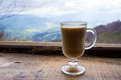 Glasses,cup of  milk hot drink.couple drinking hot coffee and te. A, coffee, tea, relax in the mountains, Carpathians,close-up Royalty Free Stock Photography