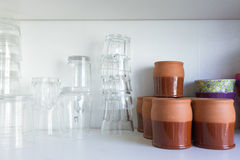 glasses and cups Stock Images