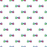 Glasses for 3d movie pattern, cartoon style. Glasses for 3d movie pattern. Cartoon illustration of glasses for 3d movie vector pattern for web Stock Image