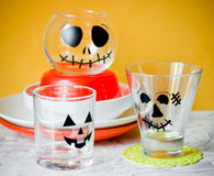 Glasses decorated for Halloween party Stock Image