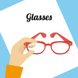 Glasses design. Over blue background, vector illustration Stock Photos