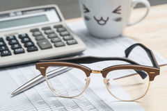 Glasses on the desk Stock Images