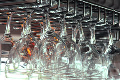 Glasses detail. A shot of group of glasses in a bar Stock Photo