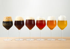 Glasses with different beers Royalty Free Stock Images
