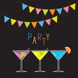 Glasses with different cocktails. Triangle paper flags. Black background. Colorful flag set hanging on rope. Cocktail party card. Royalty Free Stock Photography