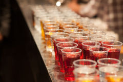 Glasses of different drinks at party Stock Photo
