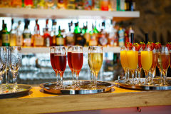 Glasses of different drinks at the wedding reception Stock Photography