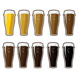 glasses with different varieties of beer Royalty Free Stock Image