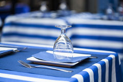 Glasses on a dining table - sailor styled terrace Stock Images